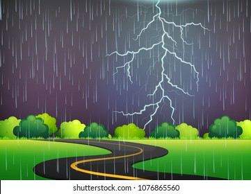 Road Trip Under Thunderstorm Night illustration