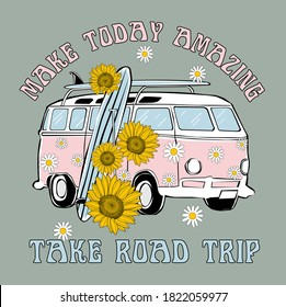 ROAD TRIP VAN SUNFLOWER DA...SHIRT GRAPHICS DESIGNS