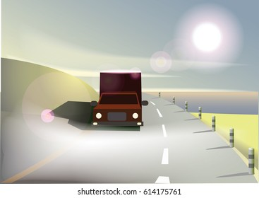 Road and truck in the morning. Vector illustration.