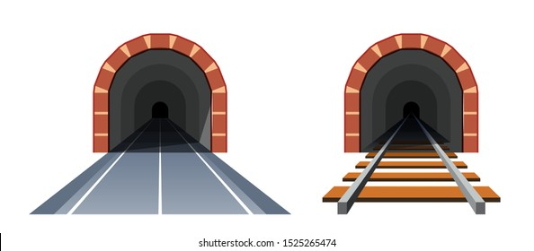 Road tunnel and railway tunnel. Simple vector illustration in flat style isolated on white background