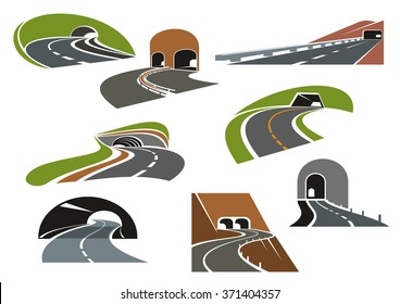 Road tunnels symbols for travel, car trip and transportation design. Colorful icons of underpass freeways and mountain highways leading to tunnels with decorative arched and square entrances