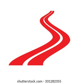 Road vector illustration - winding road silhouette. Red road sign. Road stock clip art. Road icon. Abstract road as symbol of travel, transportation, danger. Asphalt road. Isolated on white. Eps 10.