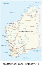 Road vector map of the Western Australian state.