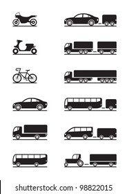 Road vehicles icons - vector illustration