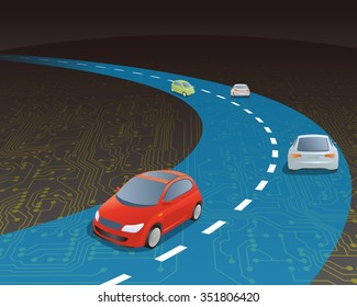 road and vehicles on electric circuit, vector illustration