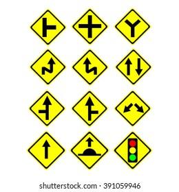 Road warning sign vector  set