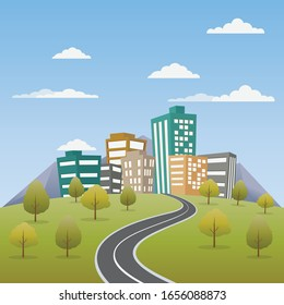 Road way to city buildings on horizon vector illustration, highway cityscape flat cartoon, modern big skyscrapers town far away ahead, forest perspective landscape and city view