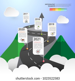 Road way infographic template 5 options. can be used for workflow layout, diagram, number options, timeline and steps