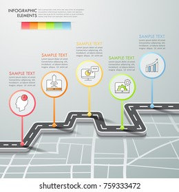 Road way infographic template 5 options. can be used for workflow layout, diagram, number options, timeline and steps process