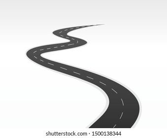 Road way journey highway Vector illustration. Asphalt street  isolated road. Symbols, steps for successful business planning Suitable for advertising and presentations.