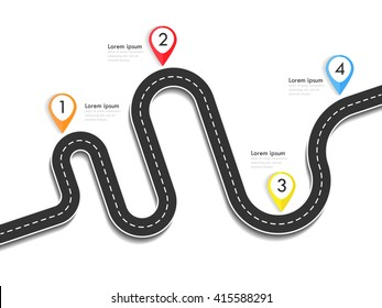 Road way location infographic template with pin pointer. Winding road on a colorful background. Stylish streamers. Vector EPS 10