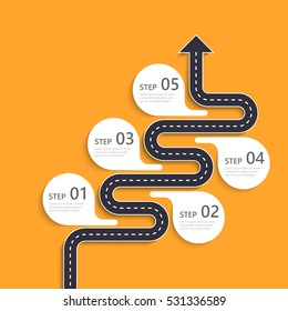 Road way location infographic template with a phased structure. Winding road timeline. Stylish Serpentine in the form of arrow. Vector EPS 10