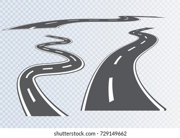 Road with white stripes on a plaid background. Set curved routes