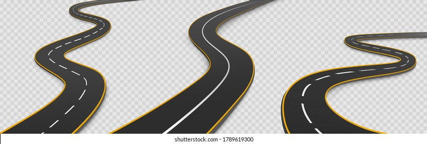 Road, winding highway isolated on transparent background. Journey two lane curve asphalt pathway going into the distance. Route direction and navigation signs for map, Realistic 3d vector icons set