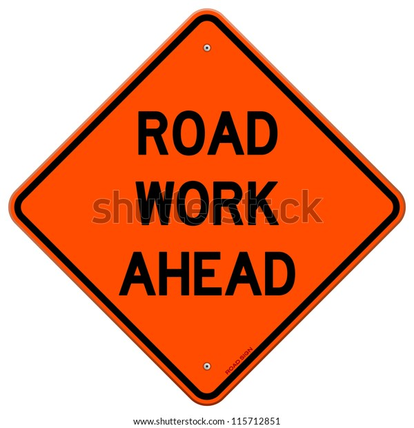 Road Work Ahead - American road sign isolated on white background