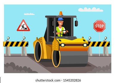 Road work flat vector illustration. Steamroller paving new asphalt. Worker driving in asphalting machine cartoon character. Driver warnings and direction signs. Road pavement improvement