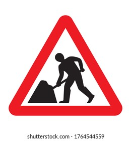 Road work traffic sign. Under construction road warning sign. Vector illustration of red triangle mark with working man inside.
