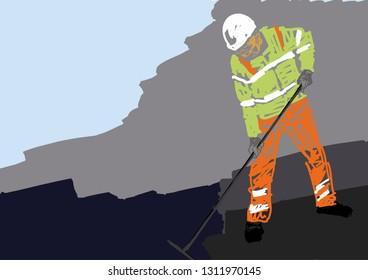 Road worker lays asphalt. Workman in helmet and uniform. Colorful road industry illustration. Road works. Vector.