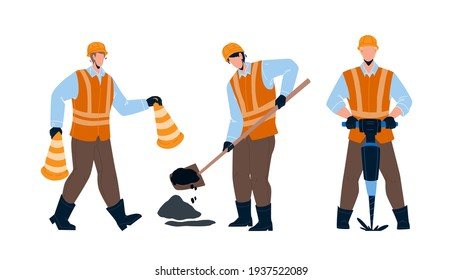Road Worker Repairing Street Infrastructure Vector. Road Worker In Uniform Carrying Cones, Drilling And Patching Hole In Asphalt. Characters Builders Working Together Flat Cartoon Illustration