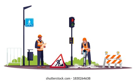 Road workers semi flat RGB color vector illustration. Workman drilling concrete with pneumatic hammer. Male road construction worker and foreman isolated cartoon character on white background