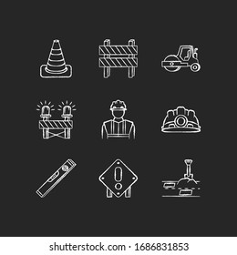 Road works chalk white icons set on black background. Traffic cone. Road barrier. Roller truck. Siren on path block. Builder and engineer equipment. Isolated vector chalkboard illustrations