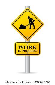 Road works in progress sign