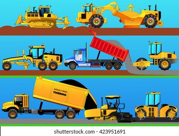 Road works. Road rollers, asphalt paver, bulldozer, grader, tractor scraper and truck constructing a road. Detailed vector illustration