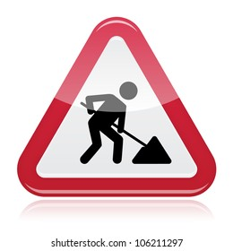 Road works sign, under construction. Red glossy road sign with working man isolated on white background.