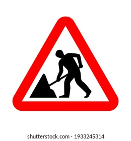 Road works sign, under construction. Warning red road sign, triangle shape with red border, working man isolated on white background. Vector illustration.