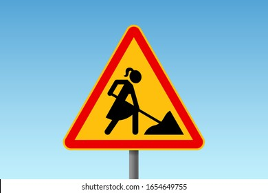 Road works traffic sign with stylized woman figure wearing dress, digging instead of male worker. Concept of woman emancipation, equal rights and equality at work
