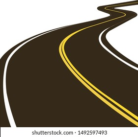 Road with a yellow double dividing strip. Vector icon.
