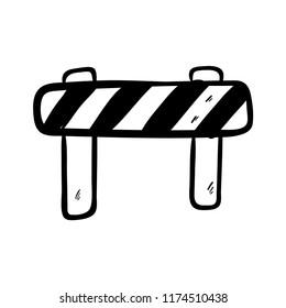 roadblock doodle icon vector