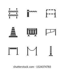 Roadblock flat glyph icons set. Barrier, crowd control barricades, rope stanchion vector illustrations. Black signs for pedastrian safety, roadwork. Silhouette pictogram pixel perfect.