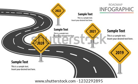 roadmap presentation design project timeline milestone stock vector