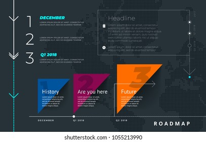 Roadmap set. Lines, arrows, timeline. For registration of sites, a road map for start-ups, polygraphy, infographics, posters, magazines.