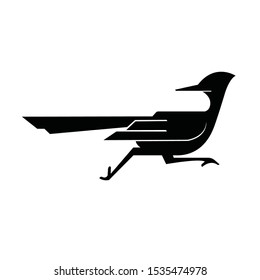 Roadrunner bird abstract minimal simple geometric logo design icon template silhouette isolated with white background