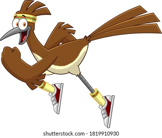 Roadrunner Bird Cartoon Character Jogging. Vector Illustration Isolated On White Background