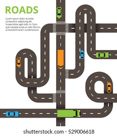 Roads with a lot of cars and trucks. Many winding roads with traffic jam. Vector illustration for web, info graphic and graphic design