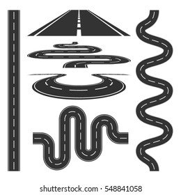 Roads highways icons set abstract background vector illustration