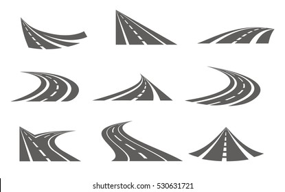 Roads logo set in grey colour with nine isolated curvy suburban road images with fork turns vector illustration