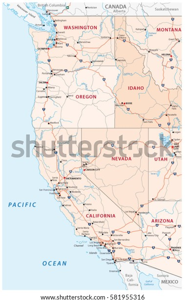 Roads Political Administrative Map Western United Stock ...