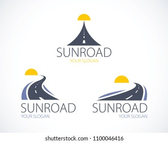 The roads to the setting sun, curved highways vector perfect design illustrations or logos set. Camping, travel and tourism themes, car or bus trip ride. Can be used as a road banners or billboards.