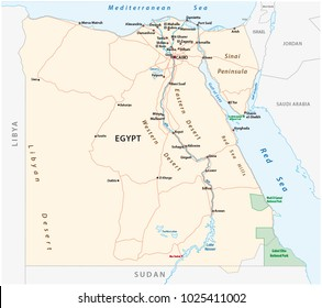 Roads vector map of the Arab Republic of Egypt