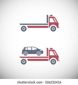 Roadside assistance car towing truck. Vector image for icon, logo and pictogram design. Graphic element in red, violet and grey colors.