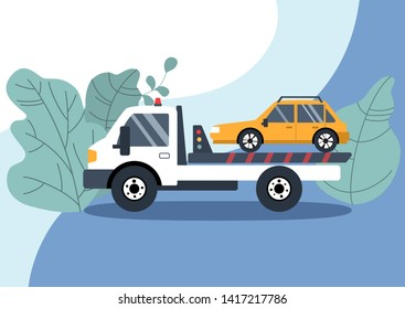 Roadside assistance concept: broken yellow car on the tow truck. Flat vector illustration.