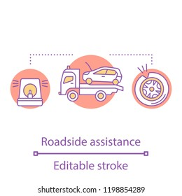 Roadside assistance concept icon. Emergency car evacuation idea thin line illustration. Car service. Automobile tyre puncture. Vector isolated outline drawing. Editable stroke