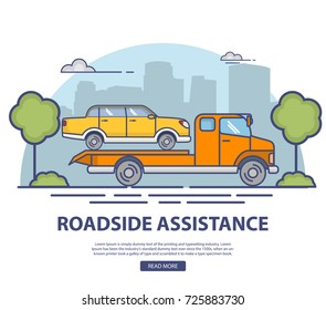 Roadside assistance with evacuation of the broken car the sedan.Car towing truck of the emergency service.City landscape with buildings and trees.Flat linear style vector websites,mobile applications.