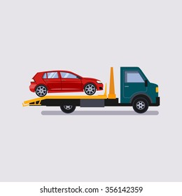Roadside assistance tow truck illustration car vector