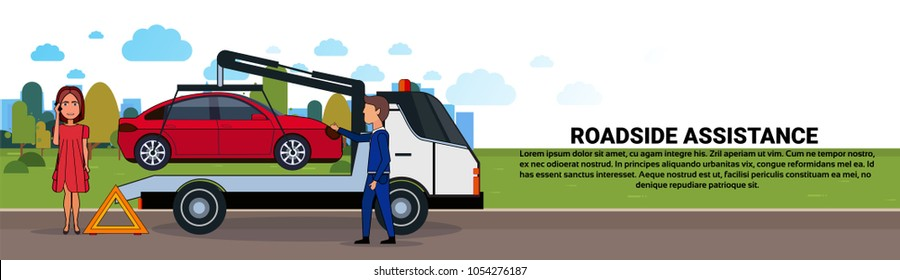 Roadside Assistance Towing Broken Car Over Driver Woman Calling In Insurance Service Horizontal Banner