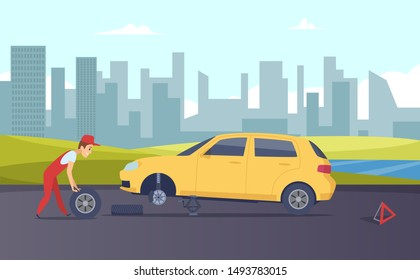 Roadside assistance. Vector tire fitting service. Cartoon car mechanic changing car wheels on road illustration
